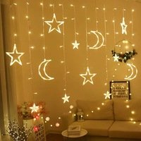 220V 3.5M Moon Star Led Curtain String Lights Christmas Fairy Garlands Holiday Lights For Wedding Party Decoration Dropshipping