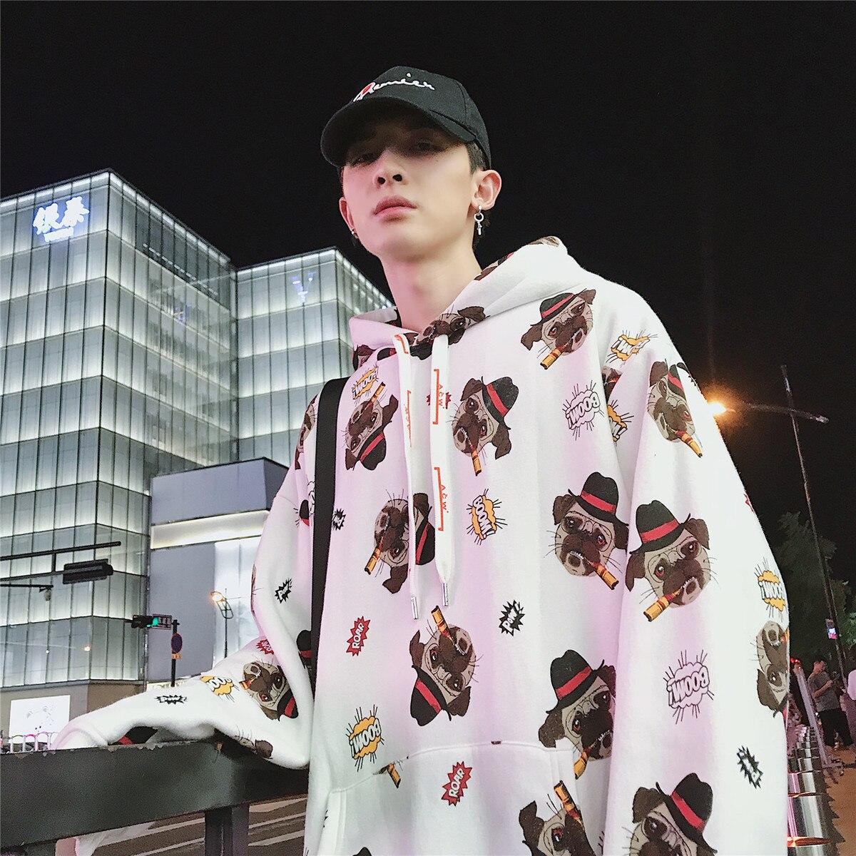 2018 hommes marque de mode vêtements pull dessin animé impression mâle sweat à capuche coton pulls décontractés blanc/gris manteaux M-XL