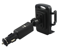 Rotary 2A Dual USB Mobile Phone Car Lighter Charger Holder Stands For Bluboo Maya Dual Edge