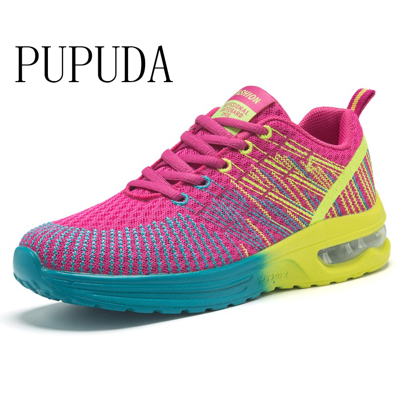 PUPUDA Fashion Sneakers Women Mesh Women Casual Shoes Wide Plus Size 42 Sport Walking Shoes Outdoor New Womans Chunky Shoes 2019