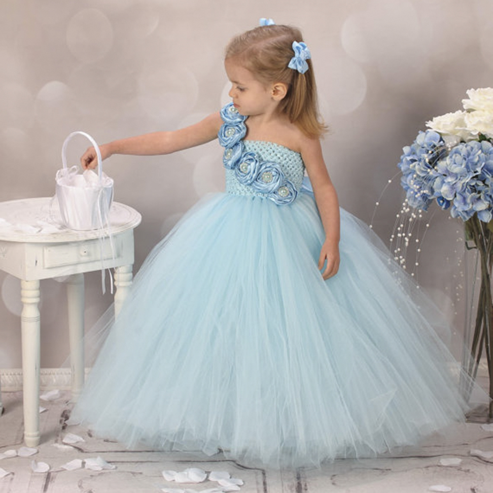 Cute Blue Flower Girls Dresses for Wedding Rose Pearls Flower Kids ...
