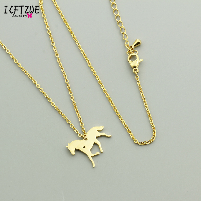 Gold Chains Stallion Running Horse Riding Stainless Steel Colar Maxi Pendant Necklace Women Men Wedding Jewelry Accessories BFF 1