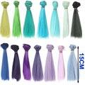 1 шт. волос refires BJD волосы 15 см * 100 см синий зеленый фиолетовый цвет короткий прямой парик волос по 1/3 1/4 BJD diy