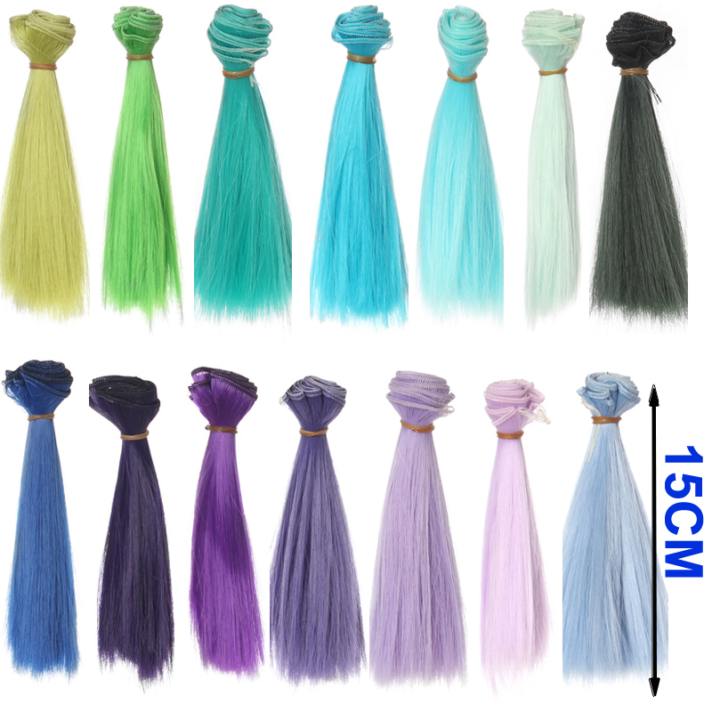 1pcs hair refires bjd hair 15cm*100CM blue green purple color short straight wig hair for 1/3 1/4 BJD diy 25cm 100cm doll wigs hair refires bjd hair black gold brown green straight wig thick hair for 1 3 1 4 bjd diy