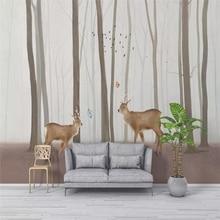 Custom wallpaper elk forest mural living room TV background wall family art high-grade waterproof material