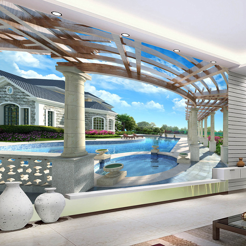 Custom 3D Mural Wallpaper Non-woven HD 3D Stereo Space Extension Outdoor Swimming Pool Large Murals Background Decor Wallpaper