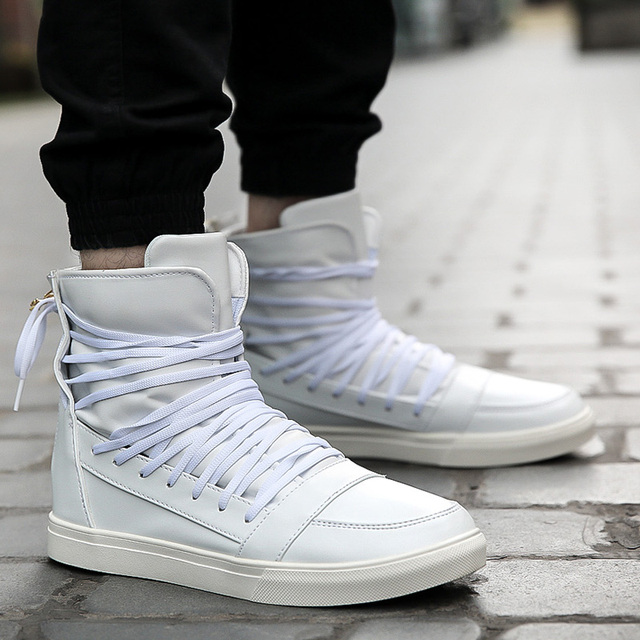 Fashion 2017 hip hop Rock N roll High trainers Cool Men Martin Boots Height Increasing Lace Up Male justin Casual white Shoes