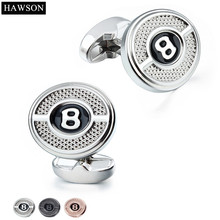 HAWSON Band Luxury Alphabet  Button Cuff links on Dress Shirt for Men and Women 3 Color Personalized Cufflinks In Free Gift Box