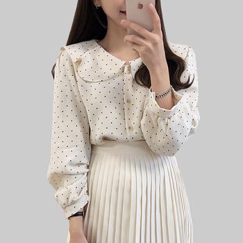 New Women Polka Dot Shirts Preppy Style 2019 Button Long Sleeve Ruffled Womens Tops And Blouses Woman Shirt Elegant Blouse Femme polka dot ruffled longline t shirt