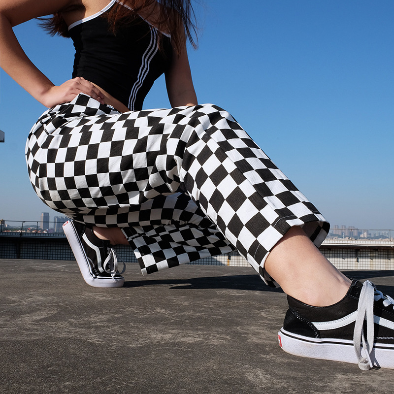 Women   Wide     Leg     Pants   Black White Plaid Baggy Straight Trousers Female Checkerboard Palazzo High Waist Street Style Hip Hop Dance