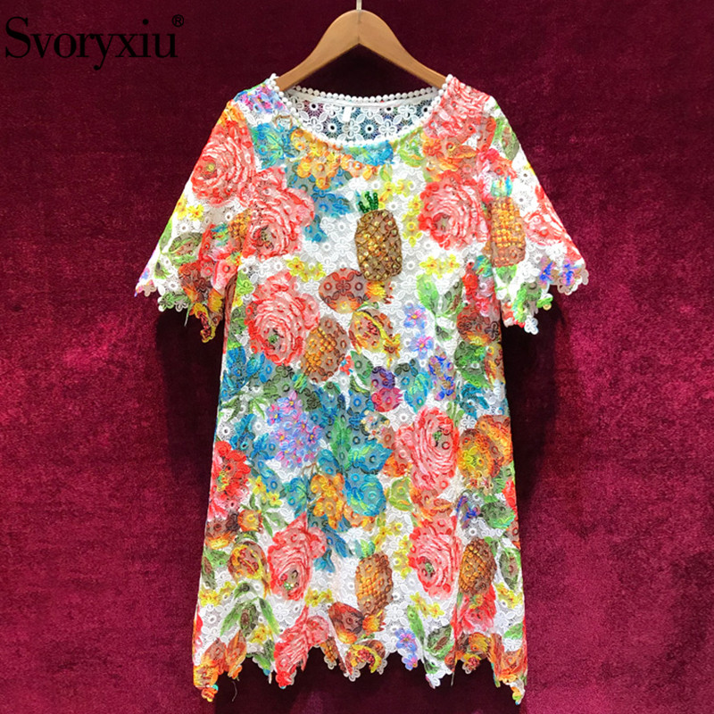 Svoryxiu 2019 Runway Summer Colours Lace Short Dress Women s Elegant Hollow Out Embroidery Beading Casual