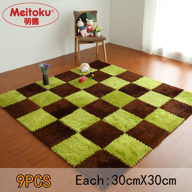 Meitoku Soft EVA Foam Puzzle Baby Play Villus Mat;interlock Floor Tiles; Exercise Fur Mat ,9pcs/lot Each30X30cm