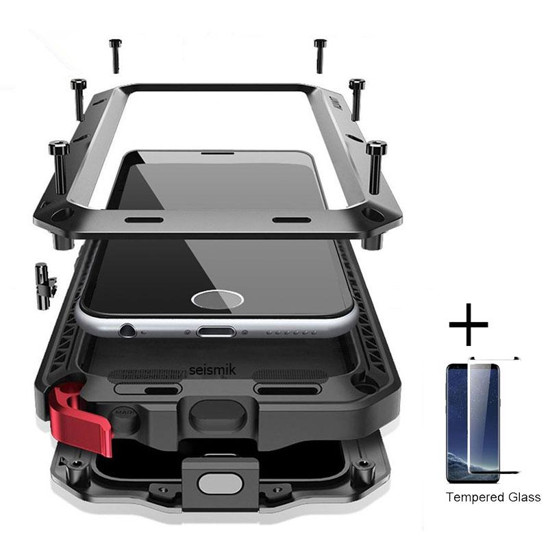 Filme de vidro + Completa desgraça Caso armadura Protetora luxo Metal Case À Prova de Choque Capa Para Samsung S8 S8Plus S9 S9Plus Nota caso 8