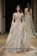 2017 neue Design Abendkleid Luxus Perlen Ballkleid Langarm Kleider Brautkleid Cocktail Party Robe De Mariage MY1207-11