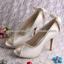 Wedopus Белого Цвета Слоновой Кости Свадебные Туфли для Женщин Лук Каблуки Peep Toe Невесты Насосы Каблуки
