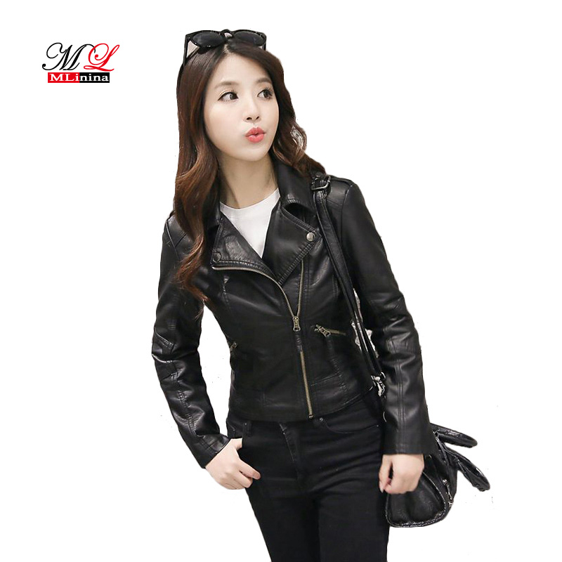 Lusumily 2019 New Autumn Winter   Leather   Jacket Women's Short Black Pink PU   Leather   Coat Ladies Slim Motorcycle Jaqueta Couro