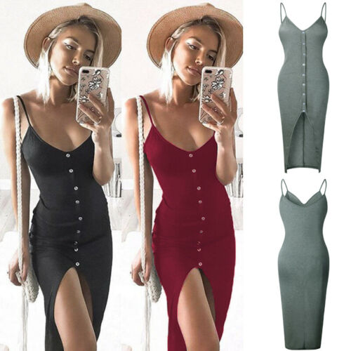 Womens Sleeveless Strappy Tank Dress Slim Rib Knit Button Split Party Midi Dress Summer