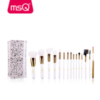 MSQ Professional 15pcs Syntheic Hair Makeup Brushes Set White Handle With White Case