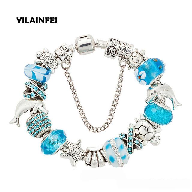 Yilianfei Silver Plating Color Ocean Collection Cute Charm Bracelets Bangles With Blue Chamilia Beads For