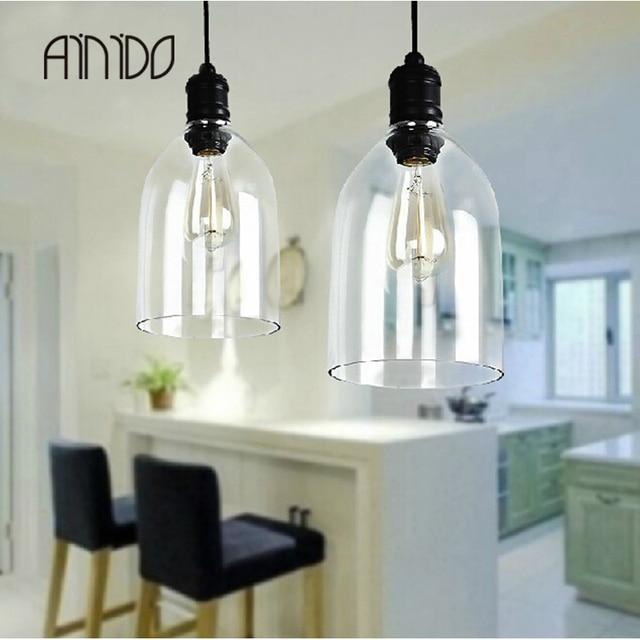 US $103.35 |New Vintage Style Pendelleuchten Glas Lampenschirm Küche  Industrielle Penant Licht Kristall Glocke Lampe Leuchten E27 110 240 V in  New ...