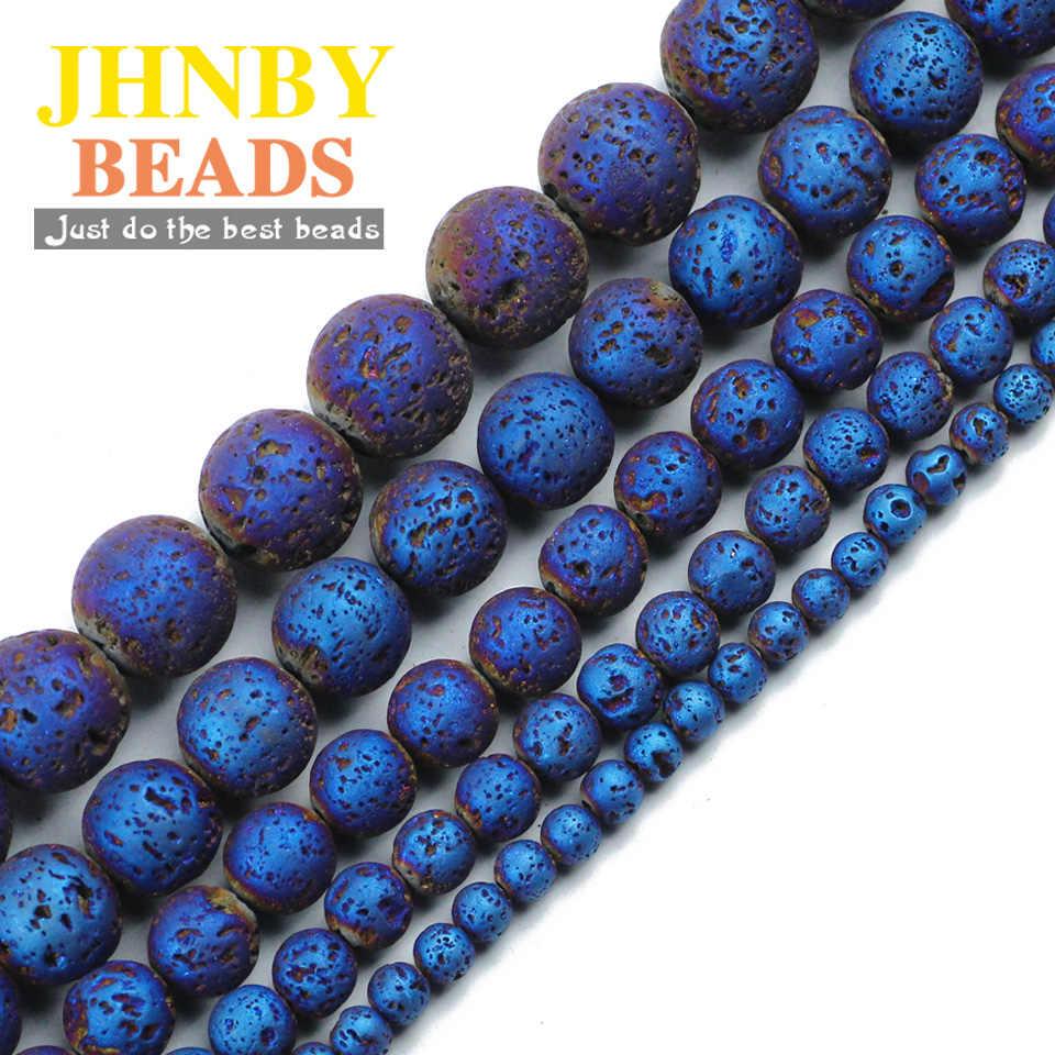 JHNBY Синий Покрытие Природный лавовый камень 4/6/8/10/12 мм круглый свободные шарики для изделия мужские браслеты и ожерелье делая DIY аксессуары