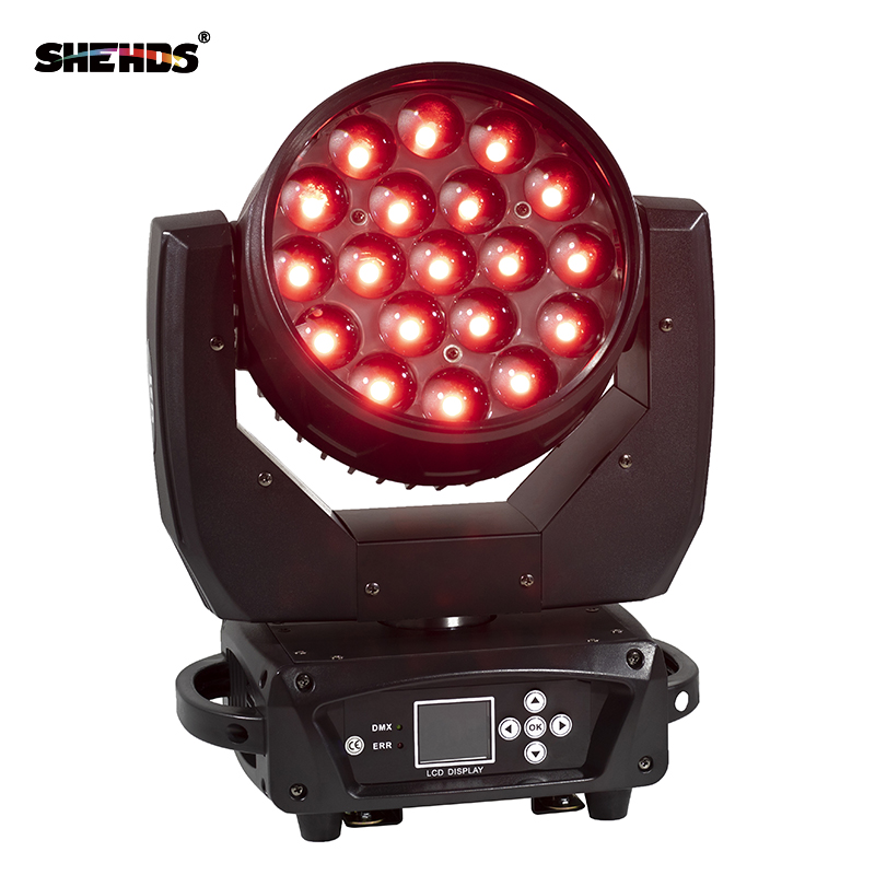 2pcs/lot LED Moving Head 19x15W RGBW Wash/Zoom Stage Light Professional DJ/Bar Machine DMX512 Zoom Beam