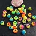 Флуоресцентные Неоновые бусины для ткацких станков, разноцветные резинки разных цветов, 100 шт./лот, 10 мм/12 мм, акриловые бусины с большим отве...