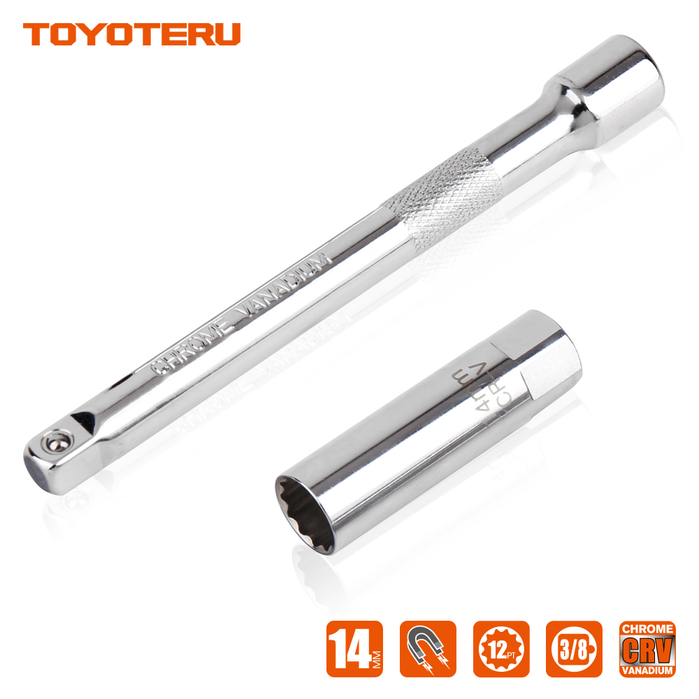 14mm Car Removal Spark Plug Socket Tool for BMW Nisan Benz Magnetic Installation Tools 6 Inch Extension Bar to Most Confined ...
