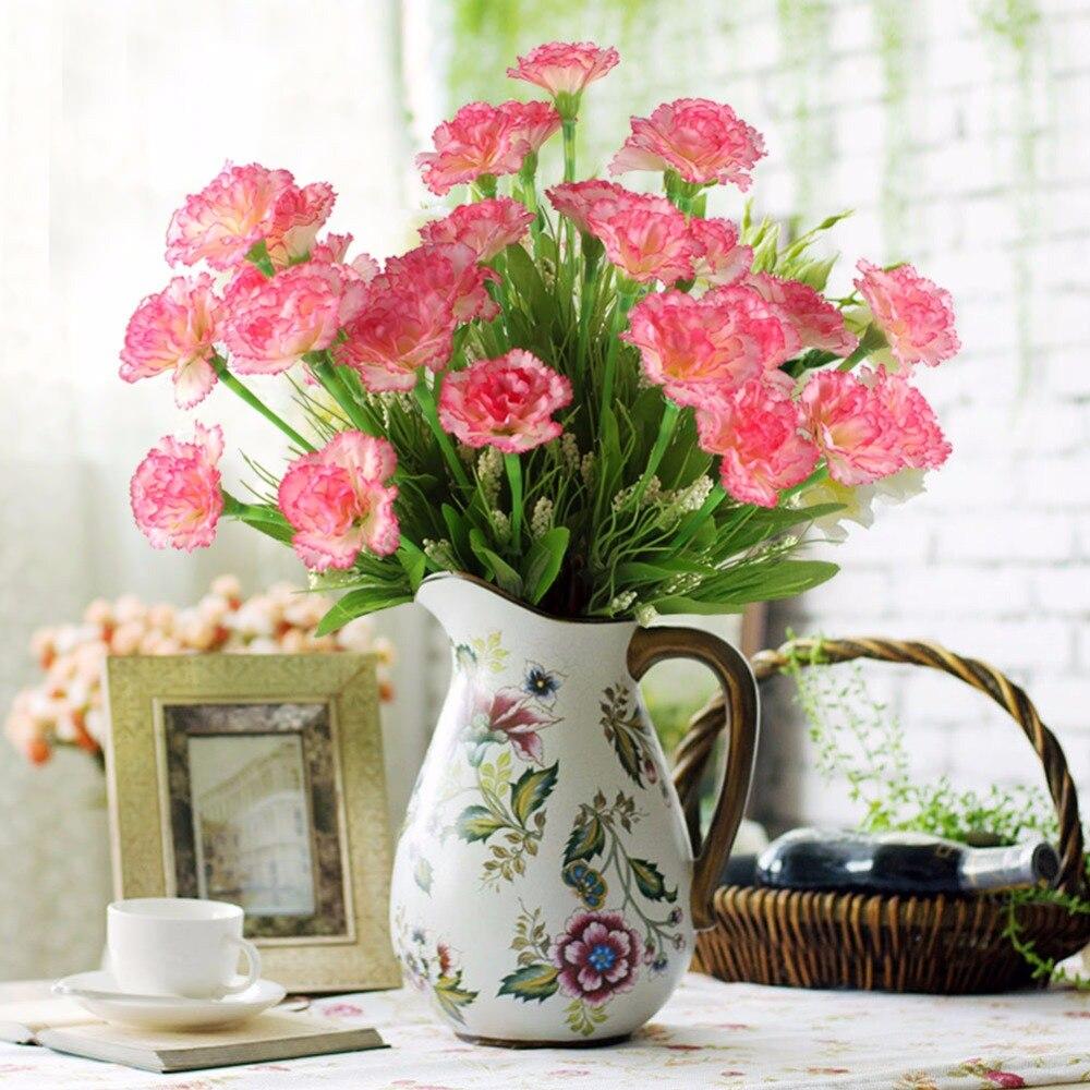 Ourwarm 10 Главы 1 букет Искусственные цветы дешевые гвоздики шелк декоративная подделка цветы для украшения дома День Матери