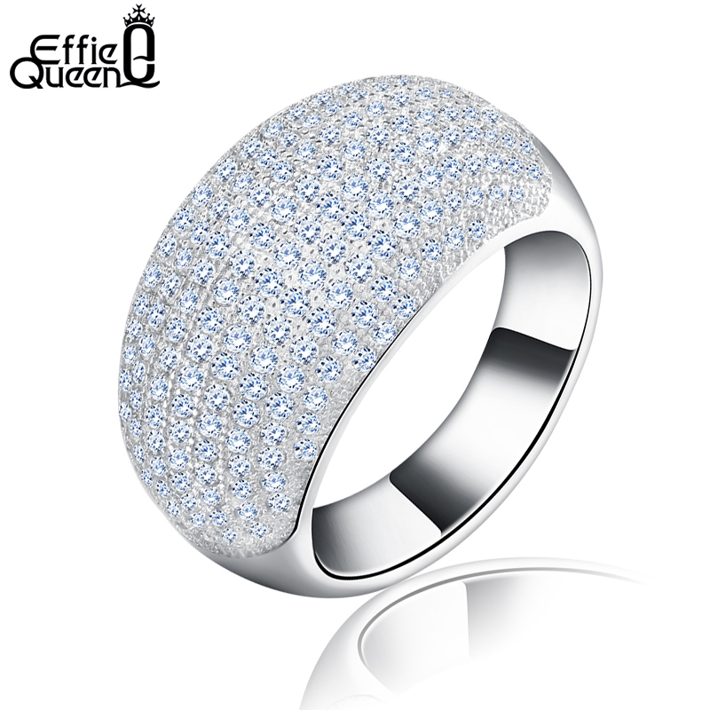 Effie Queen Trendy Big Charming Women Ring 196 Pieces Zircons Paved Smoothly Real Luxury Crystal Finger Ring for Party DR123 trendy faux crystal embellished cuff ring for women