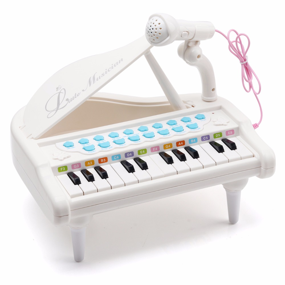 Amy BentonPiano Keyboard Toy For Kids 24 Keys White Toddlers Birthday Gifts Baby Girls 1 5 Years Old