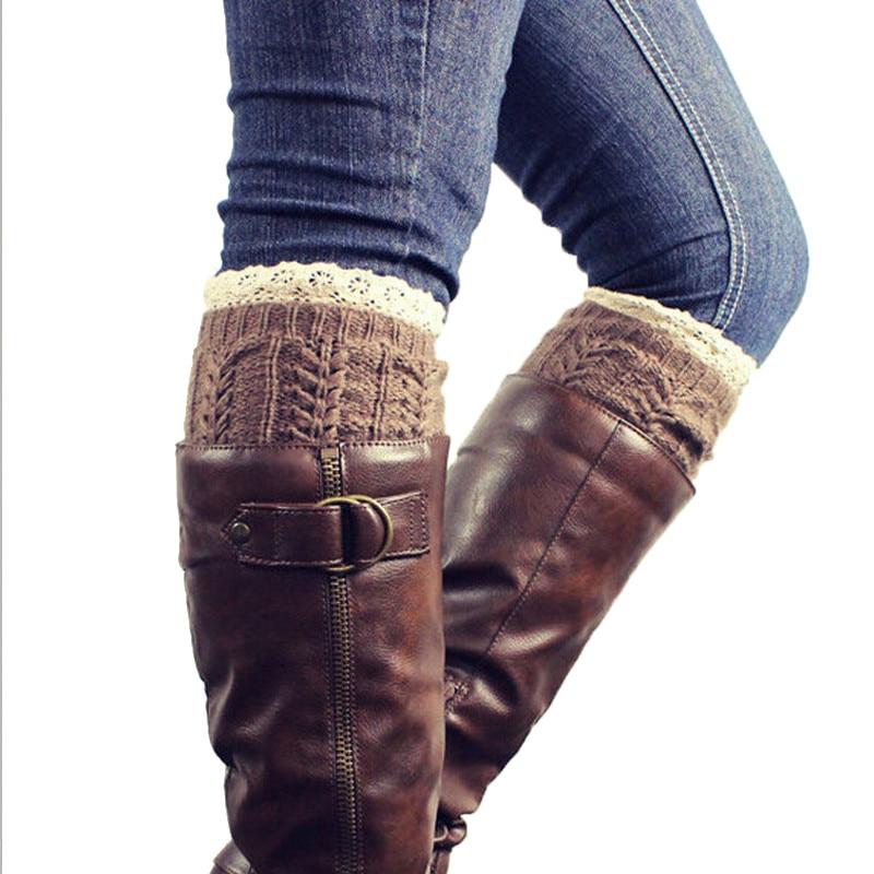 春の秋半ばふくらはぎ女性女の子レーストリム脚靴下カフ固体かぎ針編み綿ニット