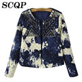 2015 Printed Slim Women Winter Coat New Fashion Full O-Neck Sequin Jacket Autumn Casual Open Stitch Office Women's Jackets