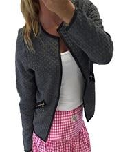 Autumn Winter Women New Autumn Plaid Thin Bomber Jackets Coat Casual O neck Female Suit Jackets