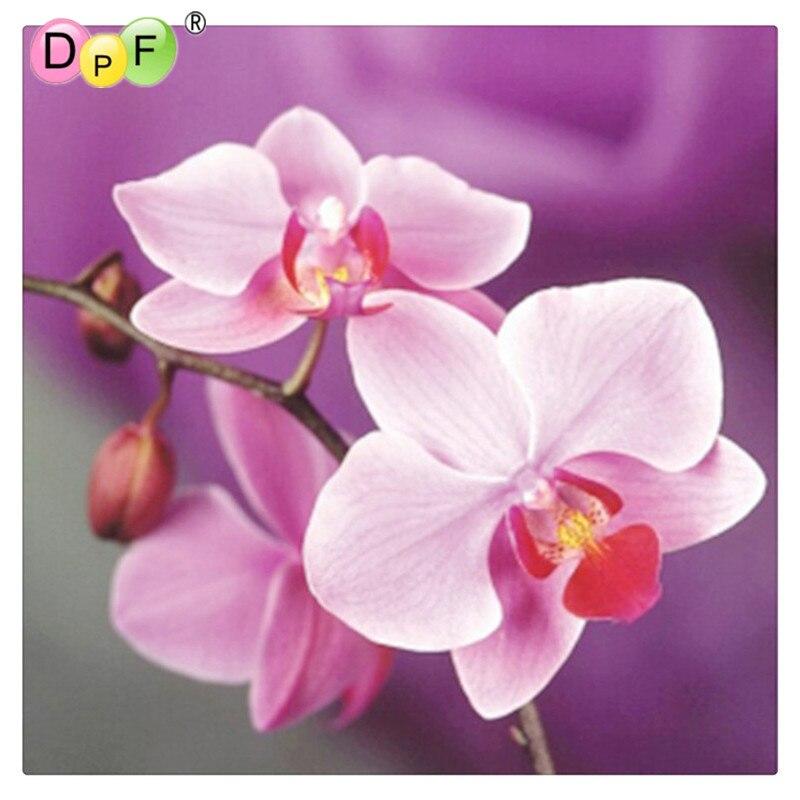 DPF Ruční vyšívání diy diamantové malířské soupravy diamantové výšivky rostlinné plné rhinestone Růžové orchidejové křížové malování