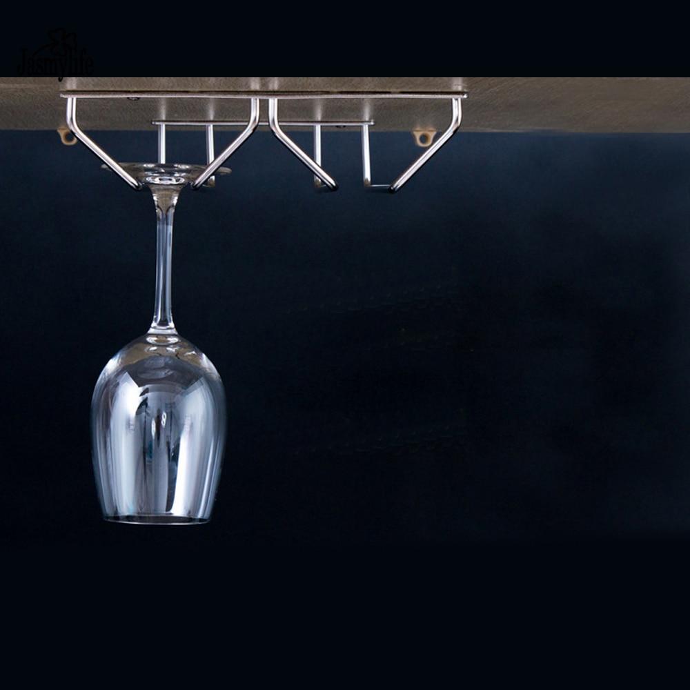Stainless Steel Wine Glass Holder Hanging Drinking Glasses Stemware Rack Under Cabinet Storage Double Row Hanging Shelf Bar Tool