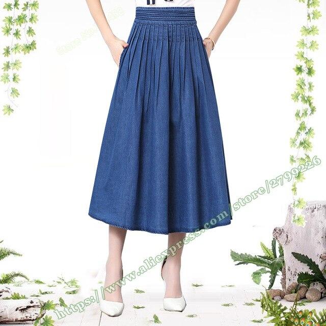 2018 verano moda Midi Denim Jeans falda Maxi Jean Faldas Mujer mujer  plisado falda larga 518c413084bd