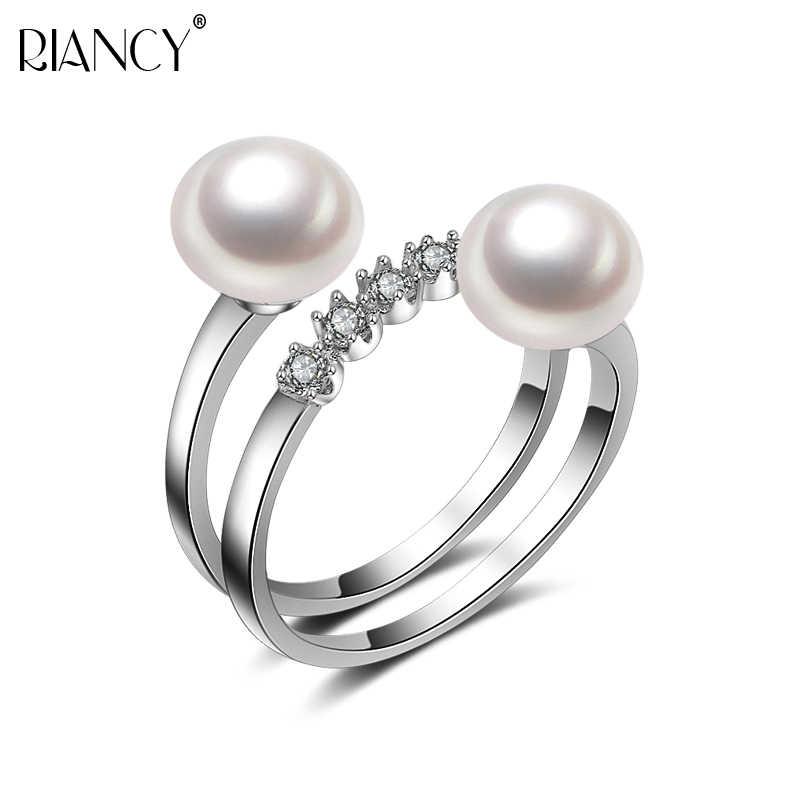 คุณภาพสูง 925 เงินสเตอร์ลิงสีดำสีขาวไข่มุกคู่แหวน 2018 ใหม่แฟชั่นเครื่องประดับงานแต่งงานแหวนของขวัญ