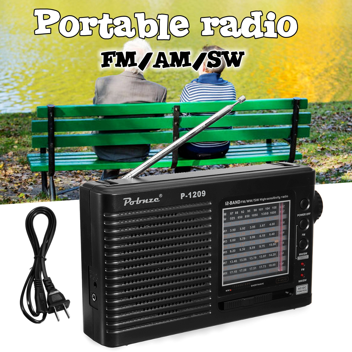 Portable Full World Bands Radio AM FM SW Receiver Speaker Telescopic Antenna Jack Radio Recorder tivdio v 116 fm mw sw dsp shortwave transistor radio receiver multiband mp3 player sleep timer alarm clock f9206a