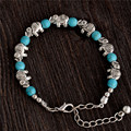 Free Shipping Hot Sale Retro Elephant Adjustable Chain Bead For Ladies Turquoise Bracelet