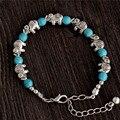 Venta caliente del envío gratis Retro elefante ajustable cadena de gotas para las damas de la turquesa pulsera