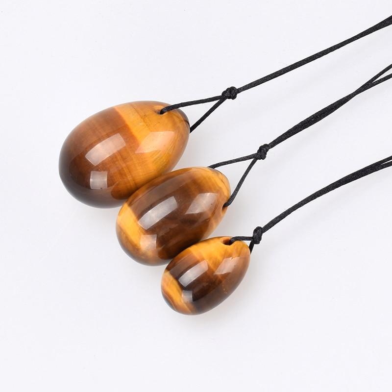 100% Natural Tiger Eye Yoni Egg Бұрышты Gemstone Jade Eggs Әйелдер үшін Kegel Exercise Кристалл Маска Ben Wa Balls Денсаулық Массаж