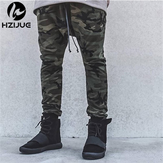KANYE high quality mens bottom pants camo camouflage hip hop trousers swag sweatpants brand clothing