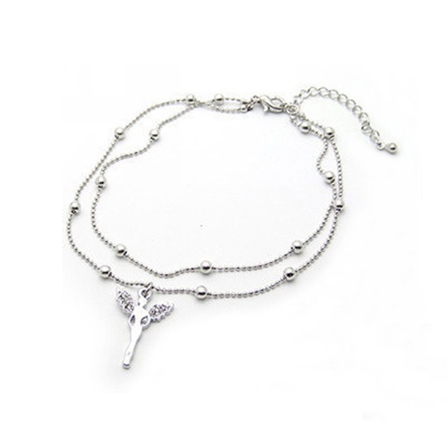 double deck crystal Angell pendant silver plated foot chain anklets for women