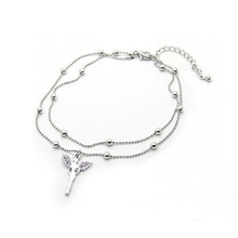 double deck crystal Angell pendant silver-plated foot chain anklets for women