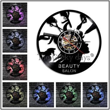 Barber Shop Vinyl Record Wall Clock Modern Design Beauty Salon Store Vintage 3D Timepiece Haircut horloge Hairdresser Gift 10