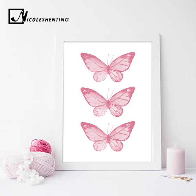 Pink Butterfly Wall Art Posters Nursery Prints Nordic Style Painting Wall Pictures for Children Bedroom Decoration  sc 1 st  AliExpress.com & Pink Butterfly Wall Art Posters Nursery Prints Nordic Style Painting ...