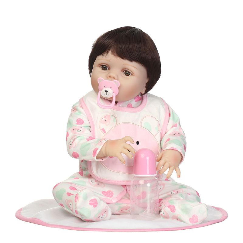 22inch Full Silicone Newborn Lifelike Baby Doll Blanket Bib Cartoon Bears Onesies Early Childhood Toy OCT31 цена
