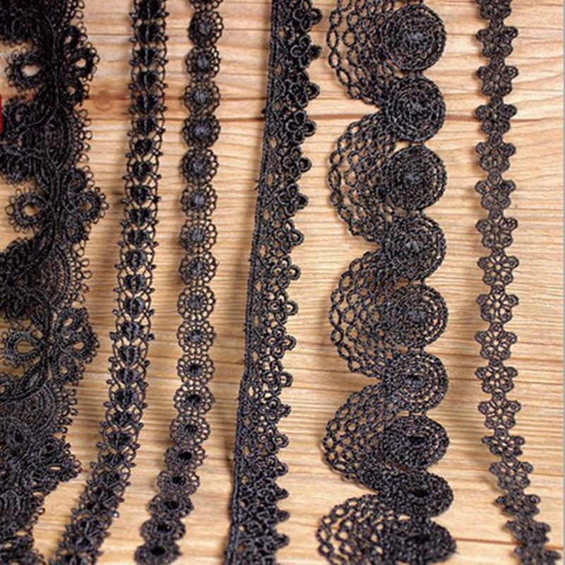 3 ეზო შავი მაქმანი სამოსი პოლიკესტერი სამოსისთვის სახლის ქსოვილი ტანსაცმელი სამკერვალო აქსესუარები მაქმანი ქსოვილი 10 მოდელი