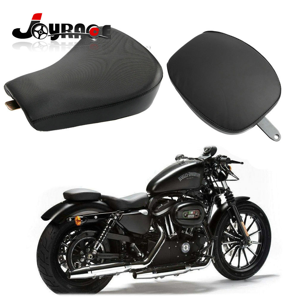 Front Driver Solo Seat + Rear Passenger Pad for Harley Sportster Iron XL1200 883